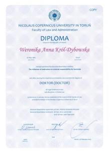 Dyplom uzyskania tytułu doktora nauk prawnych