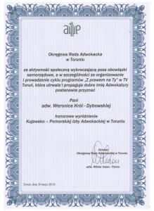 Honorowe wyróżnienie Kujawsko-Pomorskiej Izby Adwokackiej w Toruniu